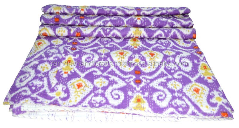 Vintage style kantha hand stitched quilt bedding home decor cotton quilt bedspread