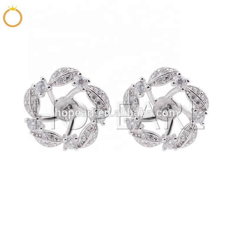 SSE215 Clear Zircons Floral Earring Semi-finished Mountings Earrings Pearl Accessories