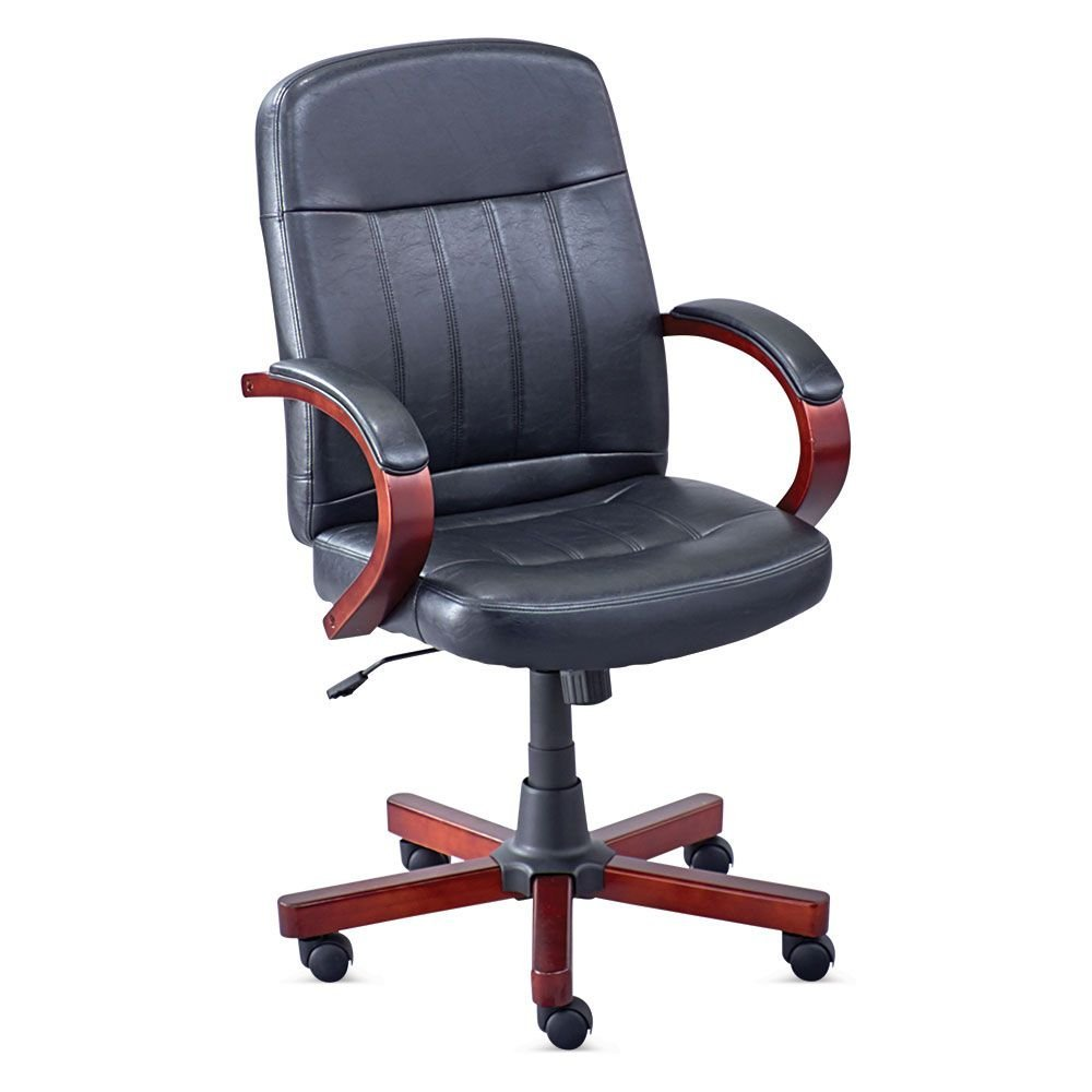 "Conference Chair in Faux Leather Raven Black Faux Leather/Cherry Frame Dimensions: 27""W x 27""D x 39.5-43.5""H Seat Dimensions: 20""Wx18""Dx17.5-21.5""H"