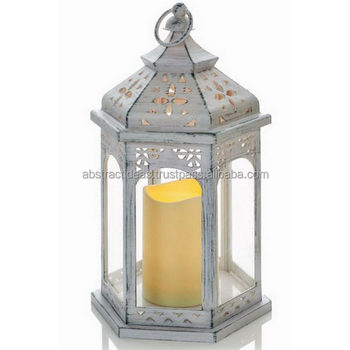 Big Antique Hexagon Home, Garden Lantern White, Grey Washed Hanging / Table  Metal Pillar