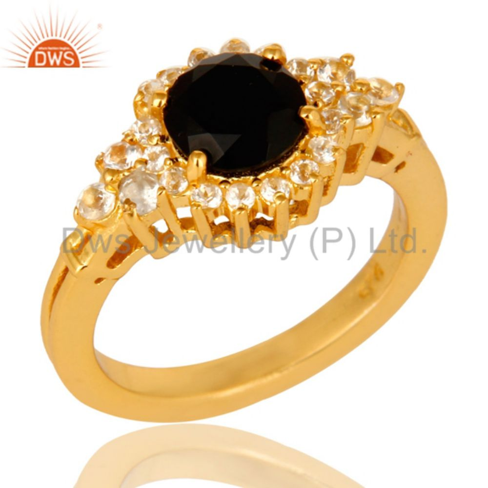 White Topaz Black Onyx Gemstone Ring Gold Plated Designer Silver Ring Jewelry Supplier