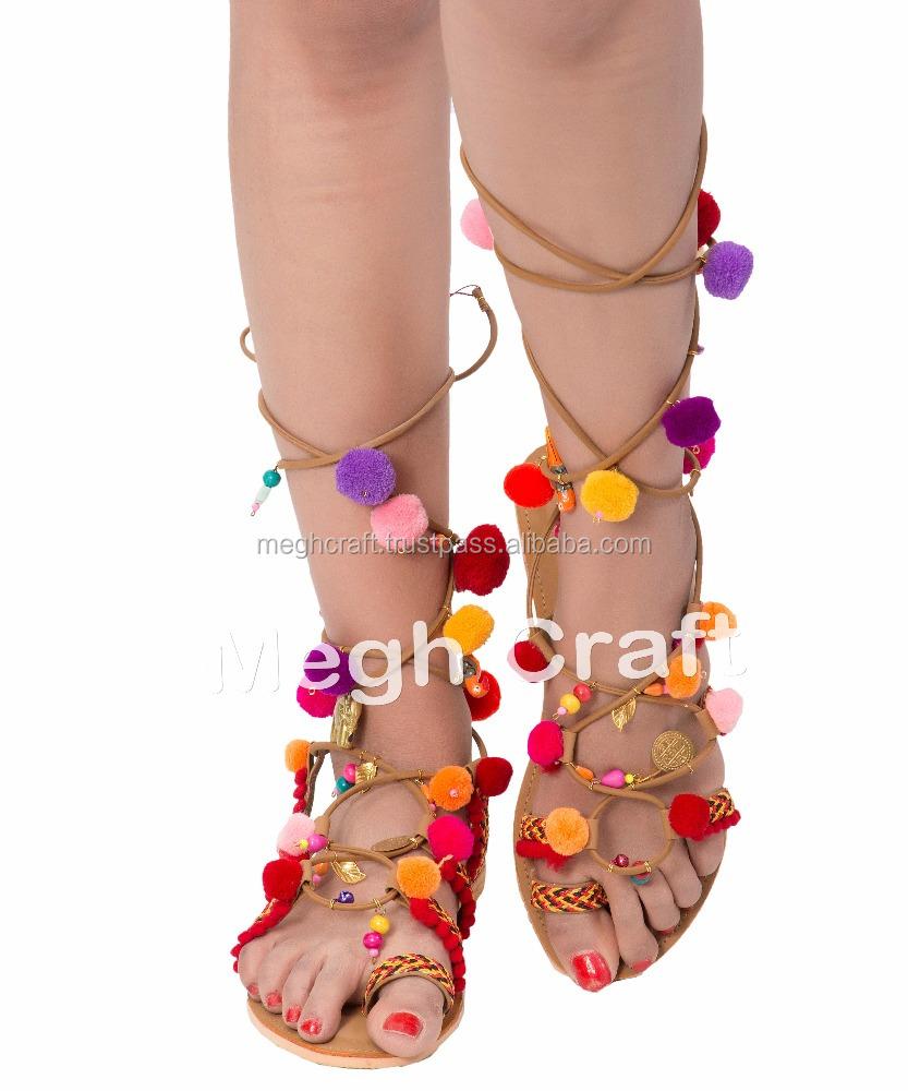 Colorful Pom Pom Boho sandals - pom pom