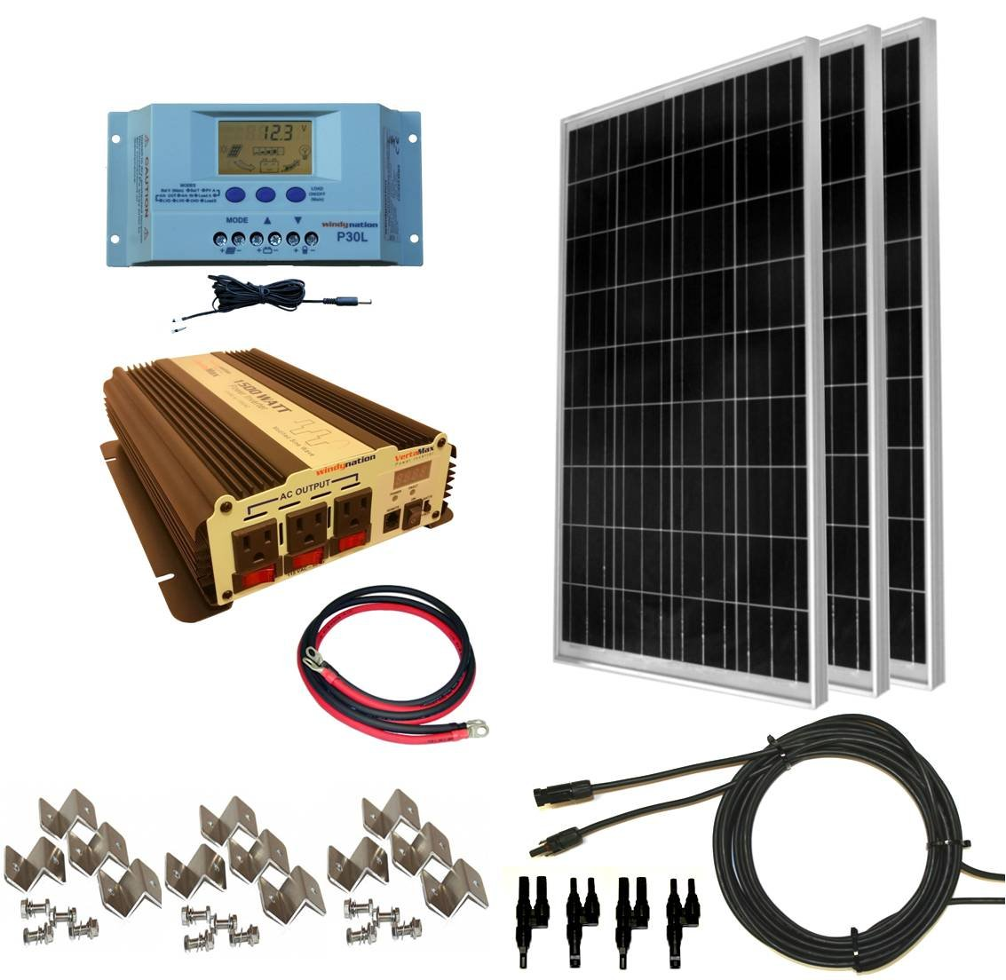 WindyNation 300 Watt (3pcs 100 Watt) Solar Panel Kit with 1500W VertaMax Power Inverter for RV, Boat, Off-Grid 12 Volt Battery Systems