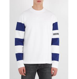 Customized Minimalist Style High Quality Crew Neck Contrast Stripe-Sleeves Cotton Jersey Sweatshirt