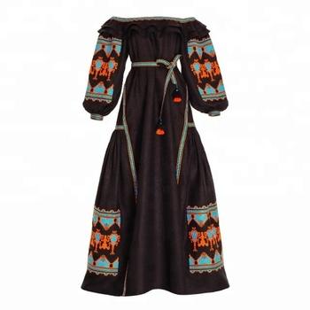 0bde44d61c 100% high quality linen Boho vintage Black off shoulder long Ukrainian dress  With Tassel handmade