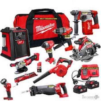 2019 New Sales Offer For-Milwaukee 18-Volt Li-Ion Cordless Combo Kit 15 Power Tool Set w 4 Batteries 6-Port Charger