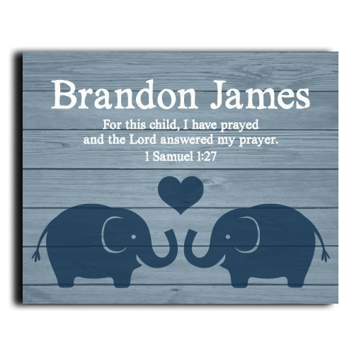 I Have Prayed Paper Art Print | Boys Wall Art | Boy Name Decor | Baby Boy Gift | Personalized Baptism Gift | Christening Gift | Religious Gift | Baptism Present | First Communion | Paper Art Print