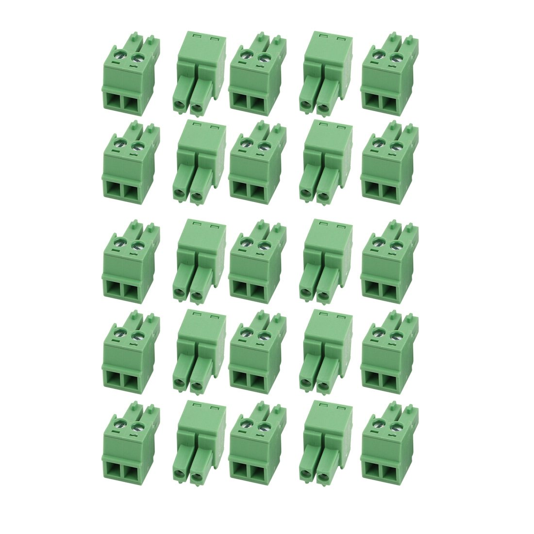 uxcell 25Pcs LC1 AC300V 8A 3.81mm Pitch 2P PCB Terminal Block Wire Connection