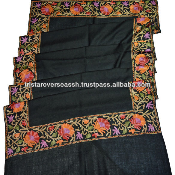 f43610af12 Black Pure Wool Shawl Kashmir Crewel Embroidery - Buy Black Pure ...