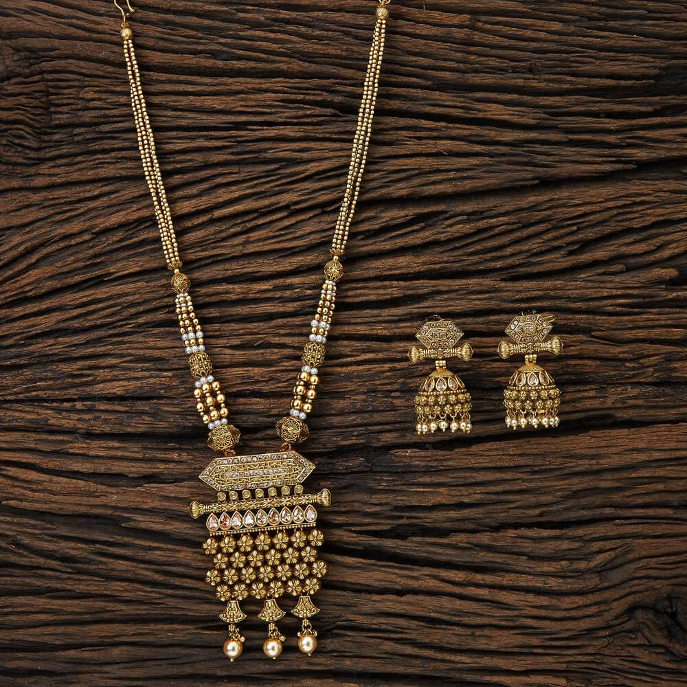ethnic jewelry Long Mala Pendant set with Gold Plated 17087 Lct