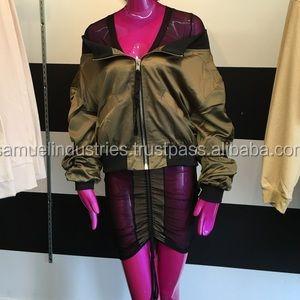 f6d49af915e2 Women Satin Cropped Bomber Jacket Girl Short Jacket For Sport Custom Make  High Waist Coat
