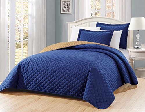 "Fancy Linen 3pc Solid Diamond Quilted Bedspread Dark Blue New # Ontario King/California King Over Size 118"" x 106"""
