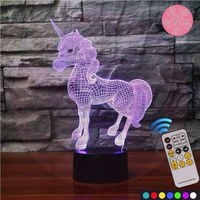 Touch 3D lamp for commercial/home use with remote control Night Lights for Kids