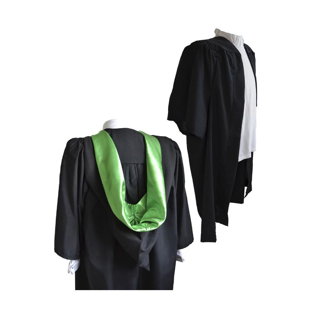 Fluted Bachelor BA Graduation Gown And Burgon Hood Set University Academic Robe