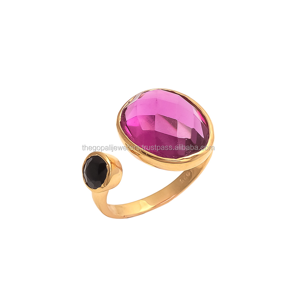 Lovely Collection Pink Tourmaline and Black Onyx Gemstone Ring Solid Gold Ring