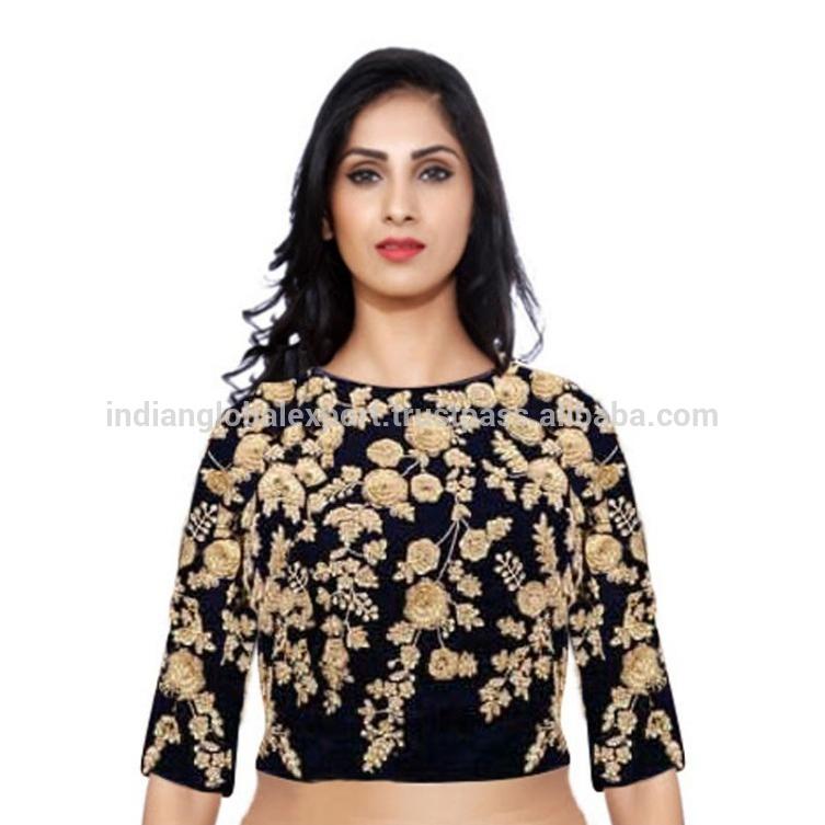 f914890648 Azul Marino bordada de seda cruda de BOLLYWOOD blusa para las mujeres