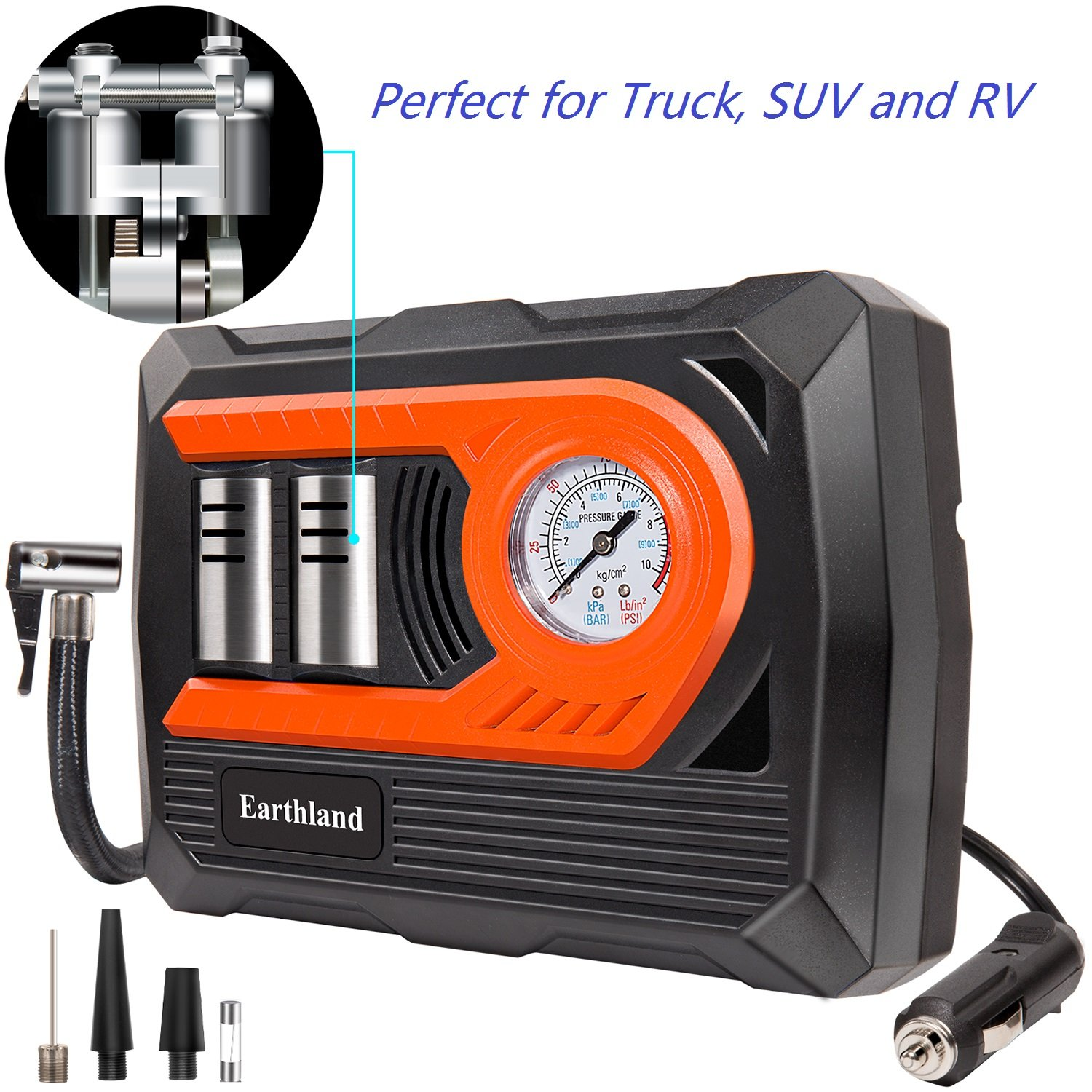 12v Portable Air Compressor Pump 150 Psi, Double Cylinder Tire Inflator with Gauge and Led Light for Bicycles, Basketballs, Children Inflatable Toys