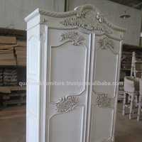 Antique White Painted French Wardrobe 2 Doors