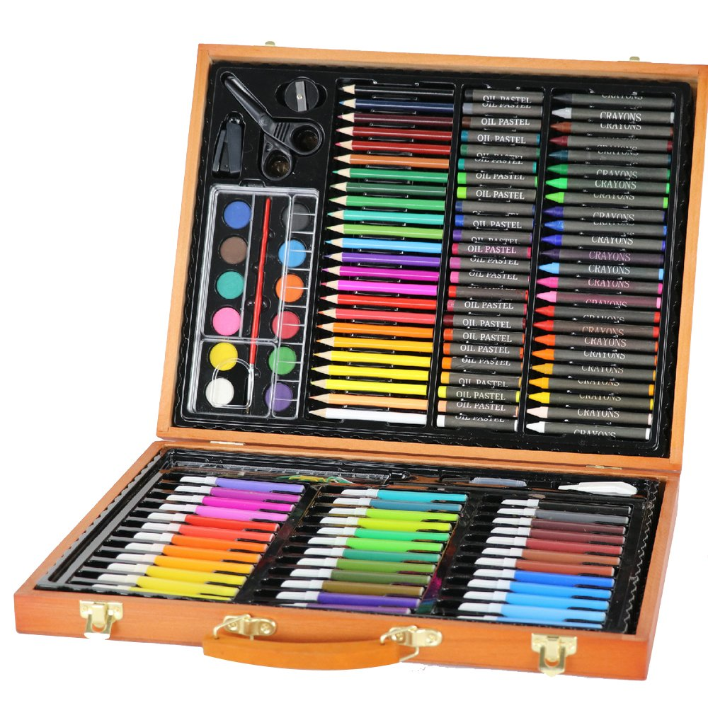 Lomalson Colored Pencils, 150 Pieces Of Assorted Wood Case Art Set Great For Kids' Drawing, Painting & Coloring