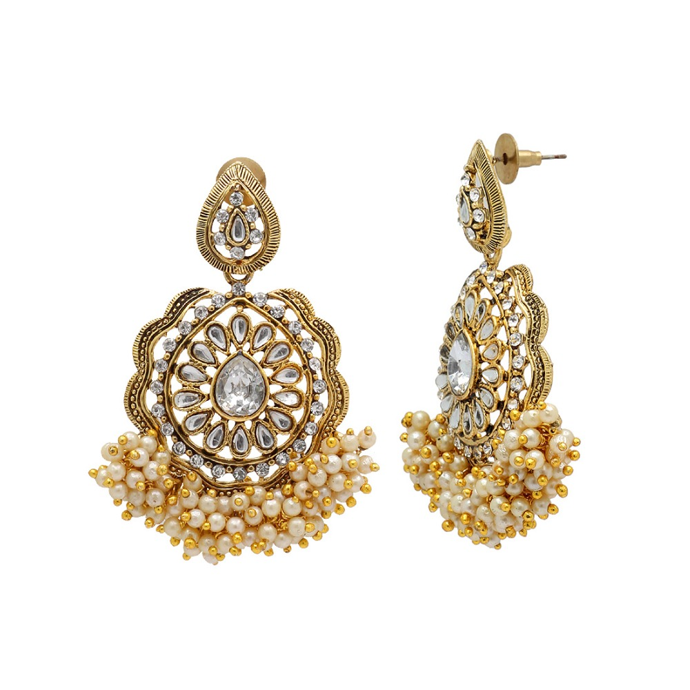 Gold Plated White Color Kundan & Imitation Pearl Traditional Earrings