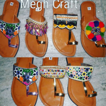 4d6d1f01e84e Wholesale Indian Embroidered Ladies Chappals - Footwears - Flats - Slippers  - Hippie Boho Style Women's