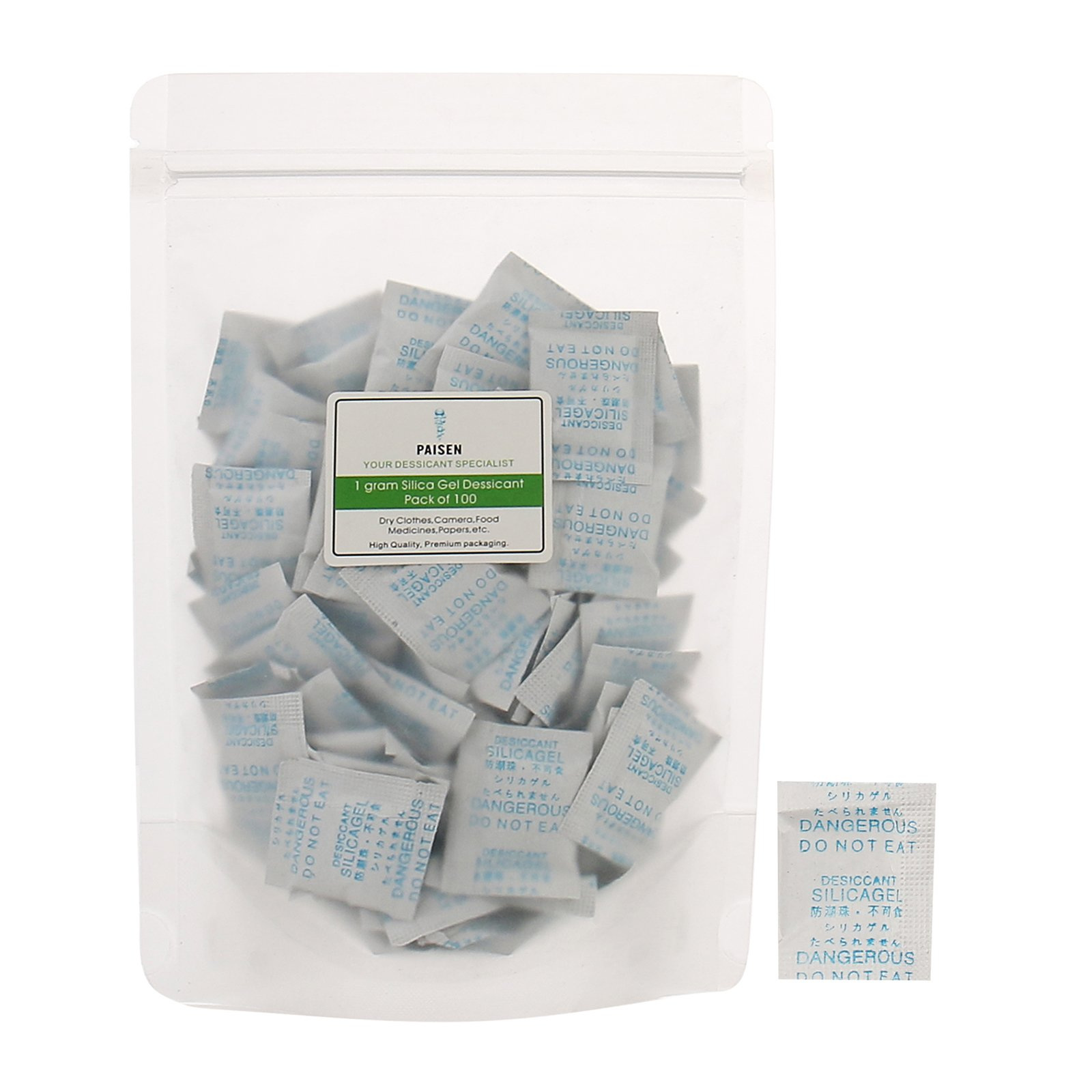 (100 packs) 1 Gram Silica Gel Dessicant Composite Paper Drying Desiccant Packets, High Efficient Dehumidifier Bags,Clear Moisture Gel Beads