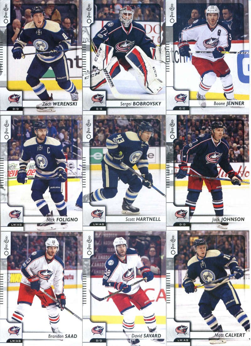 2017-18 O-Pee-Chee Hockey Columbus Blue Jackets Team Set of 17 Cards: Sam Gagner(#32), Cam Atkinson(#85), Brandon Dubinsky(#118), Oliver Bjorkstrand(#128), Alexander Wennberg(#156), William Karlsson(#180), Seth Jones(#235), Josh Anderson(#245), Brandon Saad(#266), David Savard(#297), Nick