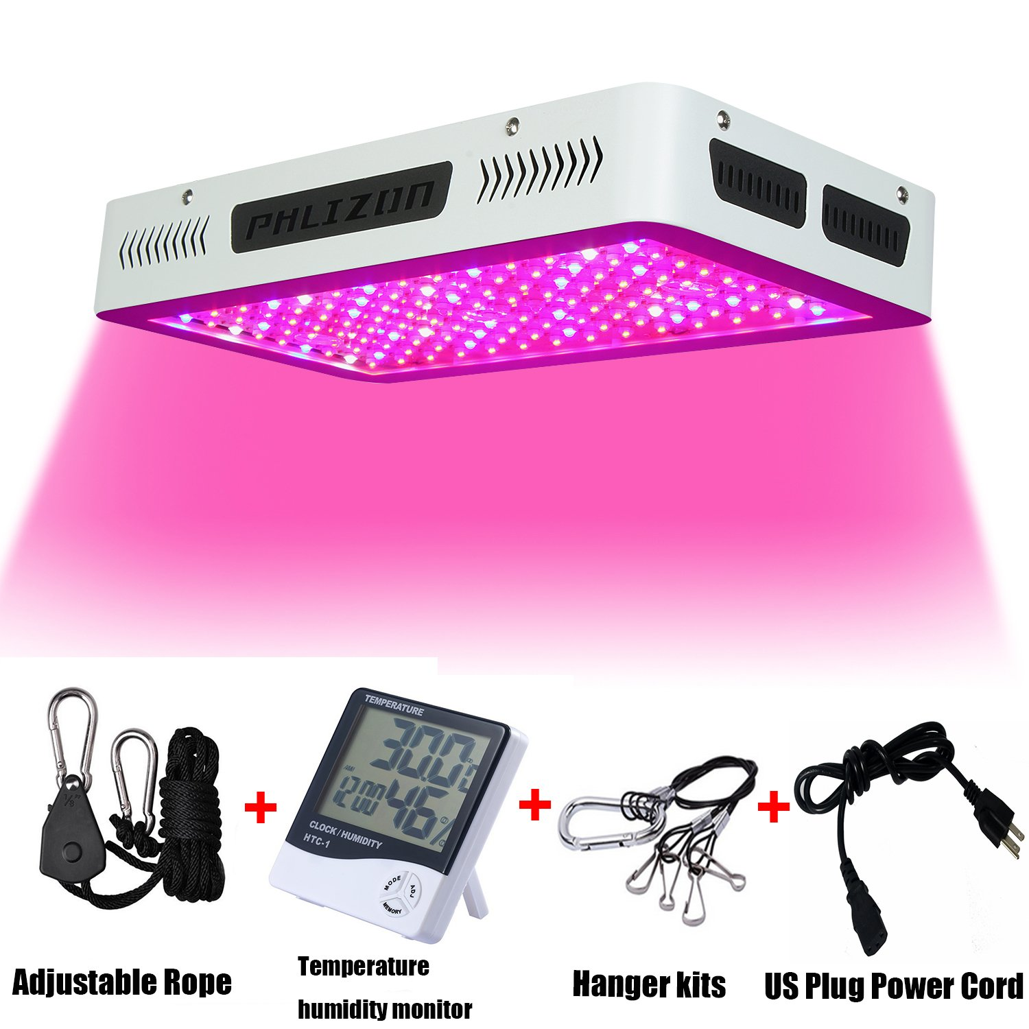 Phlizon Newest 1200W High Power Series Plant LED Grow Light,with Thermometer for