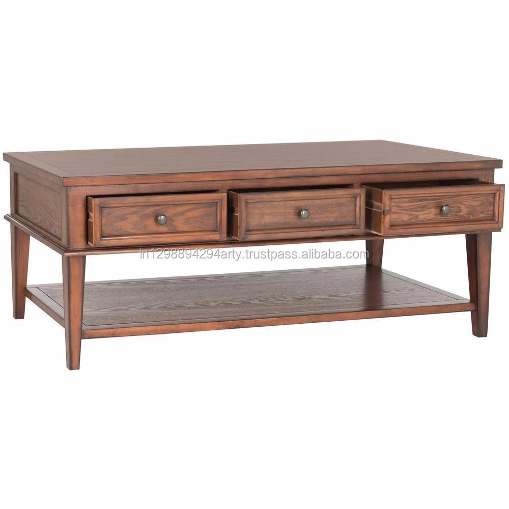 Rustic Living Room Furniture Reclaimed Wood Three Drawer Coffee Table  Wooden Tea Table Coffee Table - Buy Coffee Table With Drawers,Living Room  Low ...