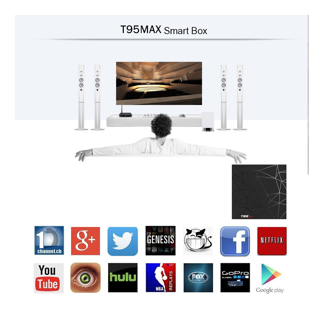 Excel Digital T95 MAX Allwinner H6 Quad Core OS 8.1  Wifi 2.4G Android Tv Box 4gb ram 32gb rom