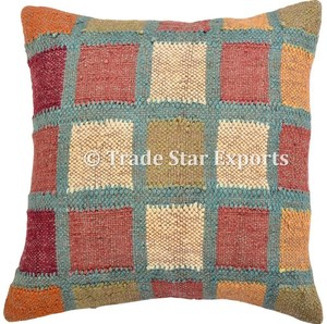 Indian rugs hand woven decorative pillow throw case jute fabric kilim cushion cover