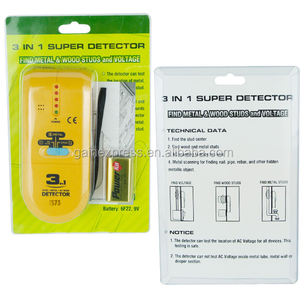 3-in-1 Detector Find Metal Wood Studs AC Voltage Live Wire Scanner Finder with Groove + Buzzer