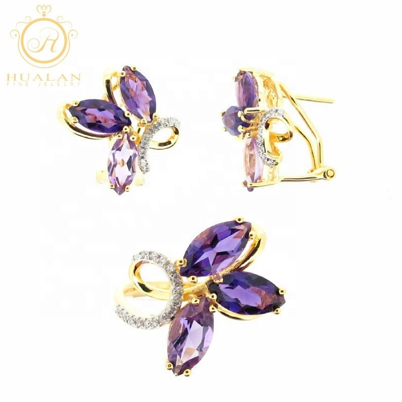 정통 925 Sterling Silver 와 Gemstone Fashion Jewellery Earring 지르콘 Jewelry Set