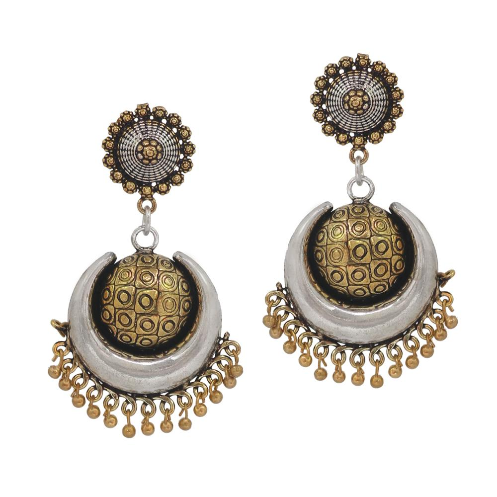 index gold color design green jhumki wedding collection rajasthani floral oxidised traditional earrings