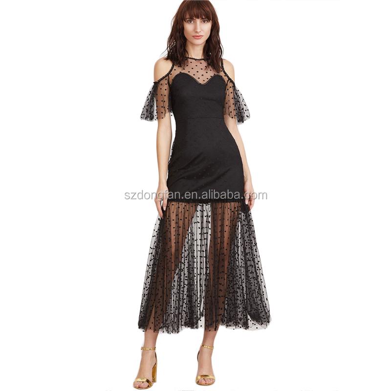 bed3e2b6cc8d New Arrival 2017 Dresses Women Elegant Polka Dot Mesh Overlay Women Long  Frocks