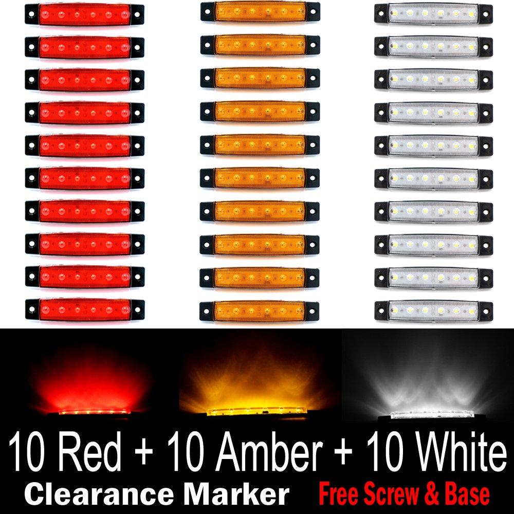 "(Pack of 30) LEDVillage 10 pcs Amber + 10 pcs Red + 10 pcs White 3.8"" 6 LED Side Marker Lights, Trailer Marker Lights, Rear Side Marker Lamp, Led Marker Lights for Trucks, Cab Marker, RV Marker light"