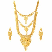 Variation 1 Gram Gold Plated Bridal Jewellery Necklace Set for Women