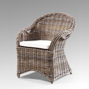 Athena Nostalgia Rattan Wicker Chair With Seat And Back Cushion