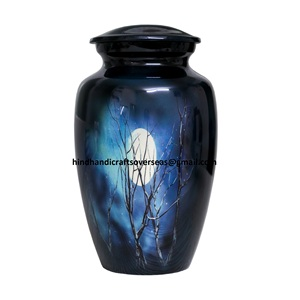 Beautiful Time of Dusk Moonlight Printed Scene Aluminum Cheap Cremation Urns for human Ashes, memorial funeral urns