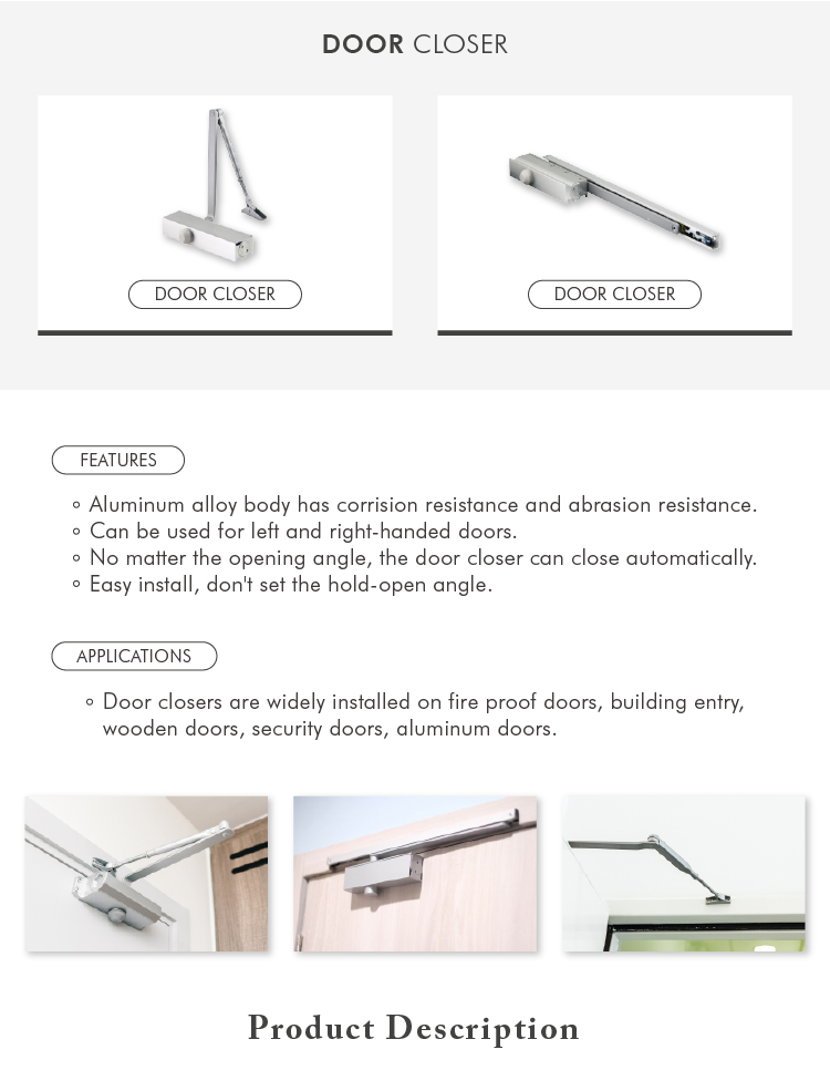 Aluminum alloy concealed overhead door closer