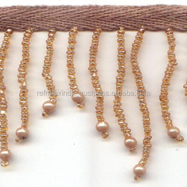 small gold Beaded Fringe BF89