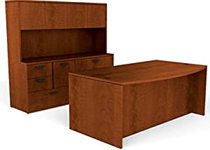 """Offices To Go Executive Desk W/Hutch Bow Front Executive Desk: 71""""W X 36/41""""D X 29 1/2""""H Credenza: 71""""W X 24""""D X 29 1/2""""H Hutch: 71""""W X 15""""D X 36""""H - American Dark Cherry"""