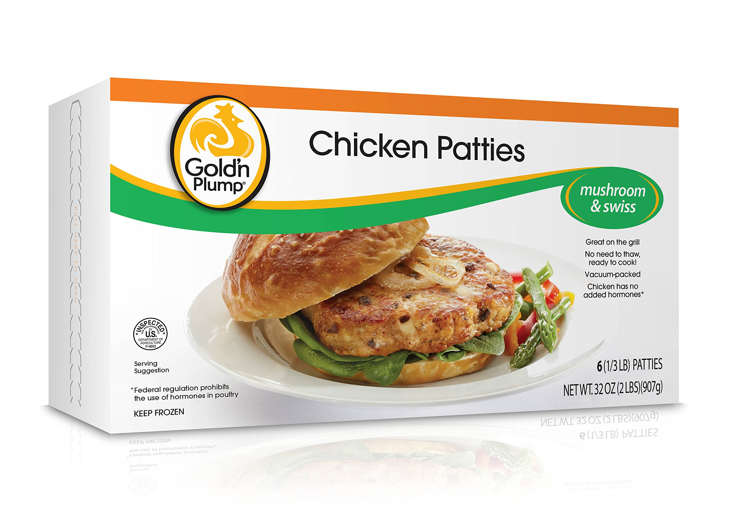 Gold'n Plump, Chicken Patties, Mushroom and Swiss, 32 oz (Frozen)