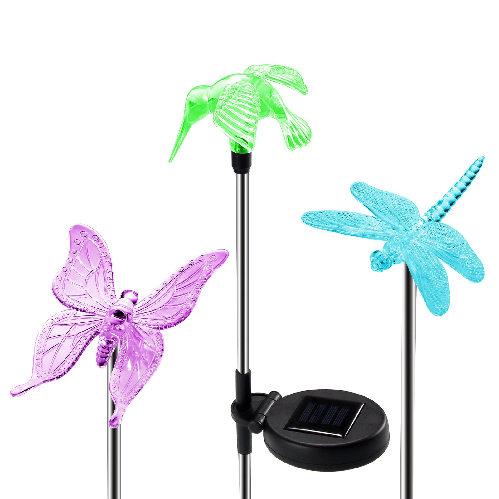 Get Quotations · OxyLED Solar Garden Lights, 3 Pack Solar Stake Light  Hummingbird Butterfly Dragonfly, Solar Powered