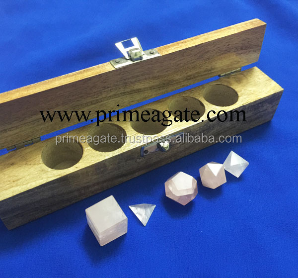 Rose Quartz 5pcs Geometry Set For Sale With Wooden Box