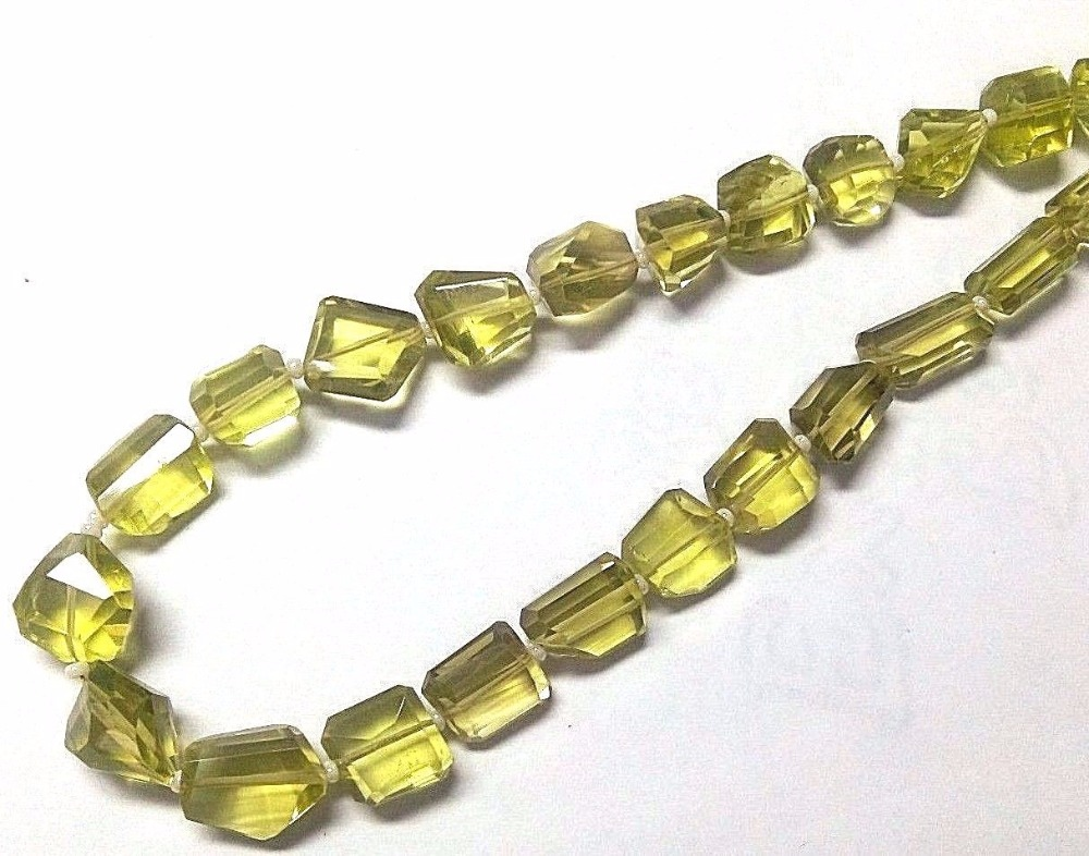 AA Bead Strands, Faceted Nuggets Lemon Quartz Bead Strands