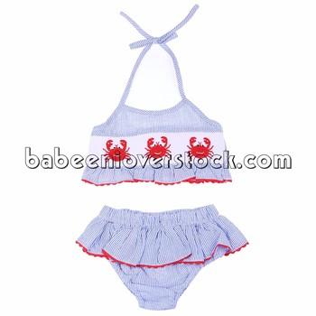 d77e27a63dacf Nice Crab Hand Smocked Seersucker Bikini Set For Little Girls - Buy ...
