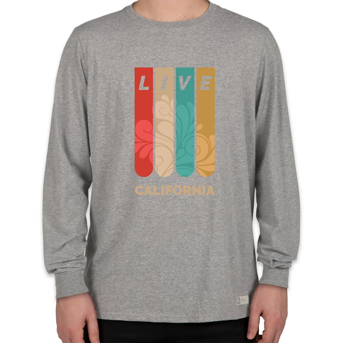 Men gym clothing boys long sleeve t shirt poly fabric with print on the front.