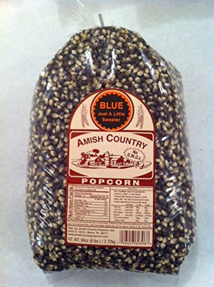 Amish Country Popcorn - Blue Popcorn- 6 lb Bag Old Fashioned, Non GMO, Gluten Free-with Recipe Guide