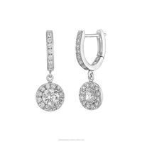 14K White Gold Stud Earrings With Natural Diamonds Total 0.47 Carat